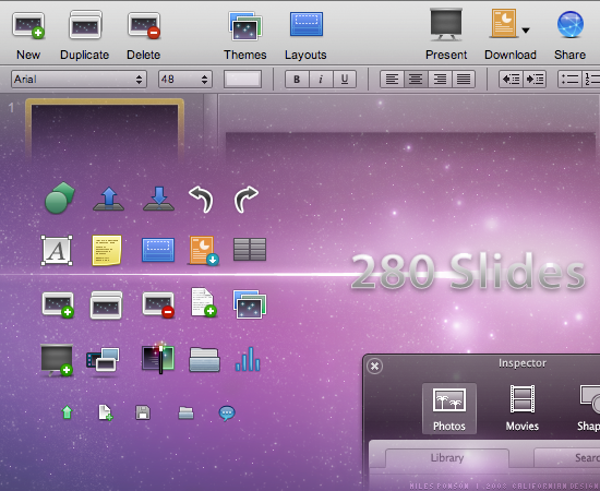 280 Slides user interface