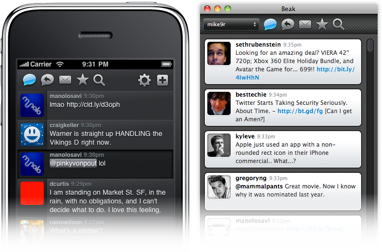 Screenshot of Beak for Mac & iPhone